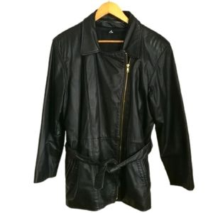 VINTAGE Y2K Insulated Black Leather Blazer/Jacket